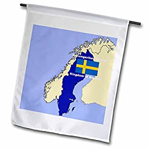 777images 旗帜和地图–地图和国旗 OF 瑞典 with THE 王国 OF 瑞典两印刷 English and swedish–旗帜 12 x 18 inch Garden Flag