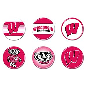 NCAA 威斯康星大学 WCR67025010 圆形纽扣(6 个装),5.08 厘米