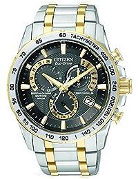 Citizen 男士光动能计时腕表 AT4004-52E 黑色表盘和双色不锈钢表链