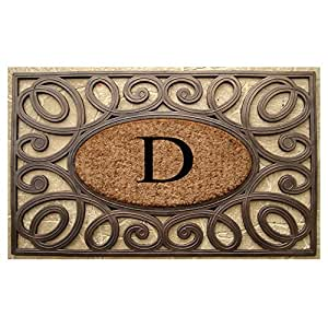 A1 Home Collections Rubber and Coir Elegant Circles Princess Large Doormat Monogrammed (23 x 38 Inches) - Monogrammed D