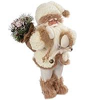 WeRChristmas 站立圣诞老人带礼品袋 皮草装装饰 - 30 厘米,白色/棕色