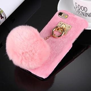 alsatek 集成钥匙圈粉色塑料保护套适用于 iPhone 6/6S + Pompon