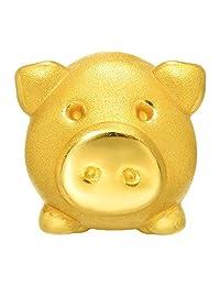 周生生 黄金(足金) Charme串珠系列小胖猪转运珠 85611C (定价) 【每件串珠送配绳1条,请在下方促销信息中自选并加入购物车】(亚马逊自营商品, 由供应商配送)