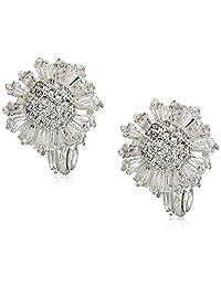 Napier 女式方晶锆石花朵夹式耳环