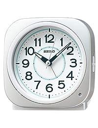 Seiko clock (精工表)闹钟自动点灯模拟聚光树脂表盘夜里也能看到 銀