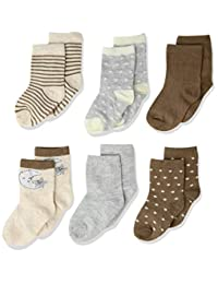 Rene Rofe Baby Baby Newborn and Infant 6 Pack Socks, Taupe, 0-9 Months