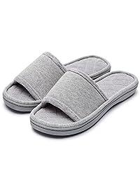 Women's Comfort Memory Foam Cotton House Slippers Spa Shoes w/Fleece Lining & Anti-Skid Rubber Sole