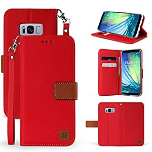 GALAXY S8手机壳, [ infolio D ] 双层混合合成皮革磁性翻转钱包式手机套带支架功能卡槽,腕带适用于 SAMSUNG GALAXY S8 红色
