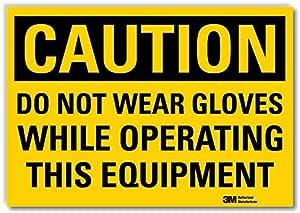 "Smartsign U4-1212-RD_10X7""注意不要穿手套在操作此设备时使用""反光自粘贴纸,25.4 厘米 x 17.78 厘米"