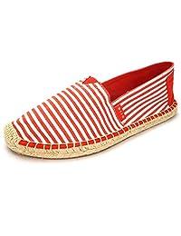 女式帆布平底鞋,适合女士,一脚蹬帆布乐福鞋运动鞋鞋,*蓝,棕褐色,玫瑰金银红色女士帆布/人造革帆布帆布/仿麂皮帆布鞋 Canvas Fabric/Red 6 M US DIIG