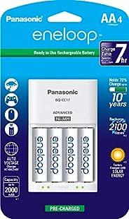 Panasonic 松下eneloop爱乐普4节充电器套装 + eneloop AA 新2100循环充电电池,4包,白