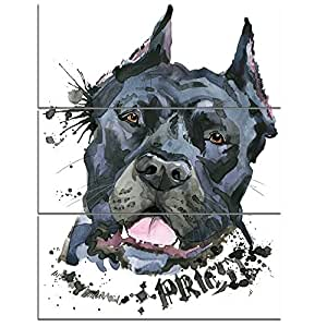 """设计艺术 PT13383-28-36-3P 狂热黑狗插画动物画布墙艺术 28x36"""" - 3 Panels PT13383-28-36-3P"""