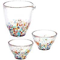 ADERIA tsugaruvidro 玻璃杯 酒杯 礼物套装 单口250ml x 1个,85ml x2个 Nebuta(金箔)盒装 日本制造 FS-71551