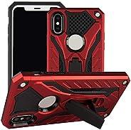 TPU + PC 混合纤薄护套适用于 iPhone X 和新 iPhone XS 的垂直/水平支架,樱桃红色设计