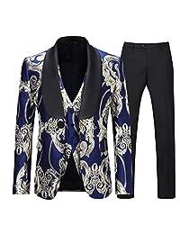 Boyland 男士奢华燕尾服修身款 3 件套青果领金色花卉舞会晚礼服西装夹克背心裤