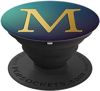 金色字母-M 青色*蓝 PopSockets 手机和平板电脑抓握支架260027  黑色
