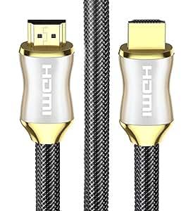 POLOK HDMI 电缆 - HDMI 2.0 (4K) 就绪 - 18Gbps - 尼龙编织 - 镀金连接器 - CL3,以太网,ARC,HDCP 2.2,2160p HD 1080p 3D Xbox PS3 PS7 PC Apple TVLYSB00W18NAYC-ELECTRNCS 3 英尺