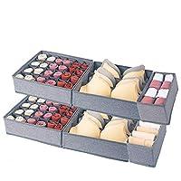 Qozary 6 件装可洗折叠抽屉收纳盒,书桌衣柜收纳盒和储物抽屉隔层适用于内衣文胸袜子(阳离子面料,灰色)