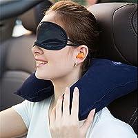 3 合 1 旅行包带 U 形充气颈枕[*蓝]、眼罩和耳塞