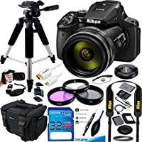 Nikon COOLPIX P900 数码相机,83x 光学变焦和内置 Wi-Fi(黑色) - 基本配件套装