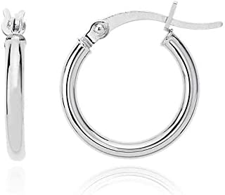 PORI JEWELERS 925 纯银环状耳环 2MMX10MM、12MM、14MM、16MM、18MM、20MM、22MM、25MM、28MM、30MM、35MM、40MM、45MM、50MM - 女式