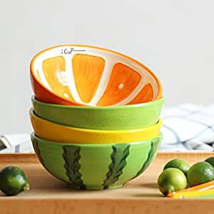 LOHOME 可爱水果碟,陶瓷松糕点点缀小盘日本餐具套装 Bowl. LOHOME