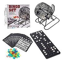 Bingo 彩票游戏套装 - 金属笼带塑料主板,75 个球,18 张宾果卡,宾果机笼游戏套装带球