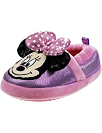 Disney Minnie Mouse 女童柔软毛绒一脚蹬拖鞋