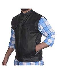 男式 SOA 摩托车真皮牛皮俱乐部风格背心,带隐藏枪袋新款 XX-L 黑色 DFY-SOA