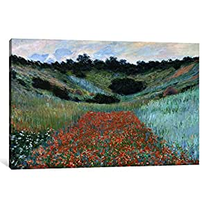 iCanvasART 15143-1PC6-26x18 Poppy Field in a Hollow Near Giverny Canvas Print by Claude Monet, 1.5 by 26 by 18-Inch
