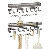 mDesign Wall Mount Fashion Jewelry Organizer for Necklaces, Rings, Bracelets, Accessories - Pack of 2, Bronze