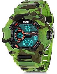 男童迷彩数字运动手表,Aposon LED 屏幕军事手表带防水休闲夜光秒表闹钟简单*手表-绿色