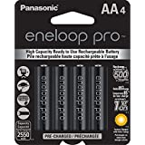 Panasonic eneloop Pro aa 可充电镍氢电池 2550 mAh(4 件装)