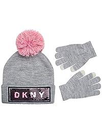 DKNY 女孩柔软绳绒毛线帽和手套套装