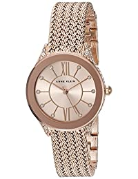 Anne Klein 女士 AK/2208RGRG 施華洛世奇水晶點綴玫瑰金色網格手鏈手表