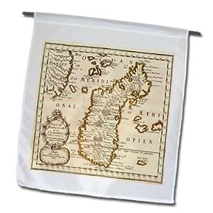 3dRose 法国地图照片 1656 马达加斯加花园旗,12 x 18 英寸