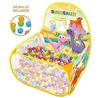 恐龙游戏屋弹出式篮球圈玩具儿童玩耍帐篷,带 60 个球玩具和游戏