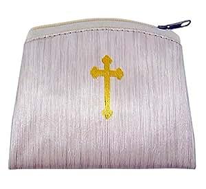 带有图案的念珠袋竹子纹理念珠表壳带金色印记结十字架,3 7/8 英寸 米色 1650Series