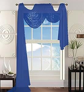 优雅舒适美丽的窗帘薄纱薄纱围巾 139.7 cm X 54.16 cm Neon Royal Blue B01DYXS4ZW