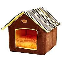 Shellkinhgdom 狗窝,宠物猫和狗窝带靠垫宠物室内房子 灰色