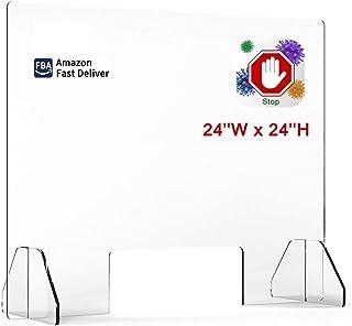 桌面*玻璃喷雾防护罩 60.96 厘米宽 x 60.96 厘米高 - 台面*屏障丙烯酸*面罩