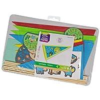 多色定制毛毡三角旗套件 - 包括 83 张硬毡贴纸,6 个硬毡形状,6 个钉杆,16 张卡片纸贴纸和 1 个纸板衬垫 - 适合 6 岁以上儿童 - 6 个