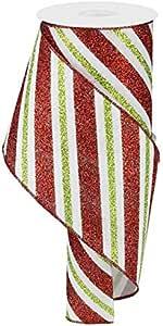 斜线闪光条纹有线边缘丝带 - 10 码 White, Red, Lime 4 Inch RG0176727