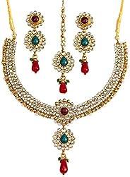 Touchstone 金色印*安宝莱坞 Kundan Look 红色绿色派对服珠宝项链 女式