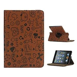 豪华卡通花哨 360 旋转支架 PU 皮套,适用于 iPad Mini,棕色