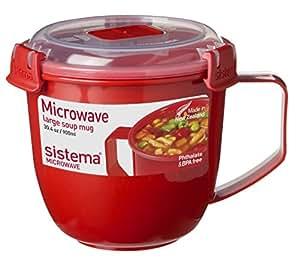 Sistema 微波炉盛汤马克杯,塑料, 900 ml - 红色/透明