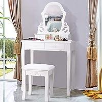 SPSUPE Vanity 4 储物抽屉,化妆套装,大型镜子和空心图案,喷漆表面,可拆卸顶部,木制装饰桌带垫凳座椅,白色