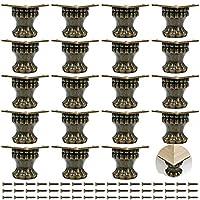 PGMJ 20 件珠宝盒腿复古设计装饰腿,木质盒腿五金件用于复古木箱、橱柜、珠宝盒、礼品盒、酒盒、工具箱 (K46_S)