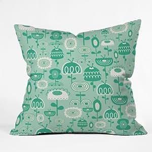 DENY Designs Gabriela Larios Flowers Garden Throw Pillow, 18 x 18