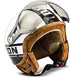 SOXON SP-325-PLUS et-Helmet 复古 Vespa-Helmet Mofa Chopper 摩托车头盔浮标复古飞行员巡逻车,ECE 认证,包括 布袋 S (55-56cm) SP-325 Plus W. - S